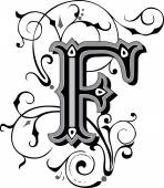 Beautifully decorated English alphabets, letter F — Stock Vector