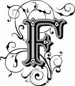 Bellamente decoradas alfabeto inglés, letra f — Vector de stock