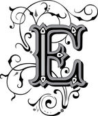 Beautifully decorated English alphabets, letter E — Stock Vector