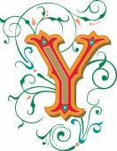 Beautifully decorated English alphabets, letter Y — Stock Vector