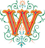 Beautifully decorated English alphabets, letter W — Stock Vector
