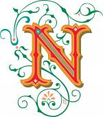 Beautifully decorated English alphabets, letter N — Stock Vector
