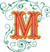 Beautifully decorated English alphabets, letter M — Stock Vector