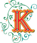Beautifully decorated English alphabets, letter K — Stock Vector