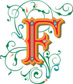 Beautifully decorated English alphabets, letter F — Vector de stock
