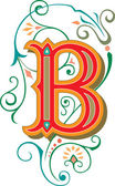 Beautifully decorated English alphabets, letter B — Stock Vector