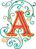 Beautifully decorated English alphabets, letter A — Stock Vector