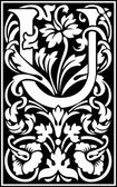 Anglická abeceda písmena vyzdobené květinami a listy rostlin — Stock vektor