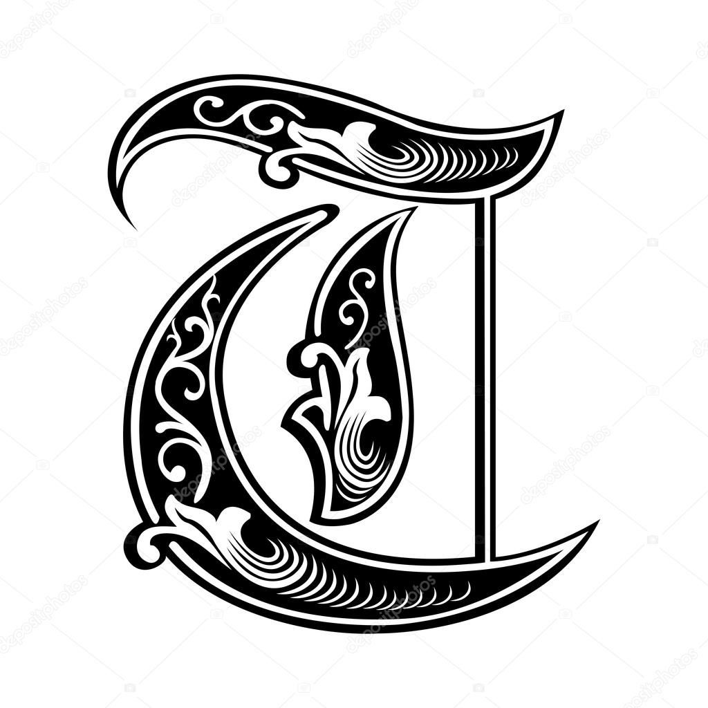 Beautiful decoration english alphabets gothic style for Letter t decoration
