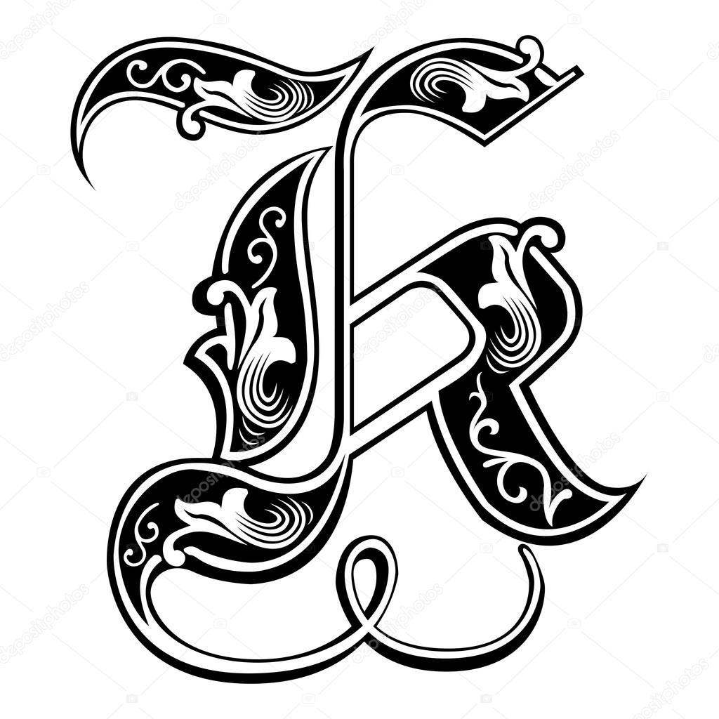 Beautiful decoration english alphabets gothic style for Letter k decoration