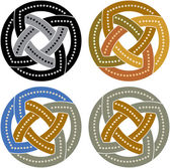 Set of oriental ornate circles — Stock Vector