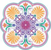 Oriental ornament vector design in colorful seamless pattern — Stock Vector