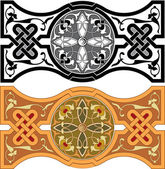 Set of Arabesque pattern with detailed ornament, monochrome and  — Stock Vector