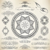 Vector set of calligraphic design elements and page decoration — Stock Vector