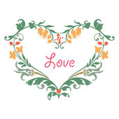 Romantic love heart, drawing flowers and plant leaves — Stock Vector