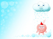 Christmas pig with santa hat and cloud illustration in snow — Stock Photo