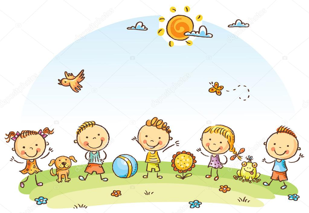 Niños De Dibujos Animados Feliz Al Aire Libre En Un Prado