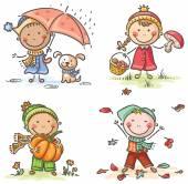 Little kids' autumn activities — Stockvektor