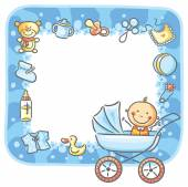 Frame with baby-boy things — Stock Vector
