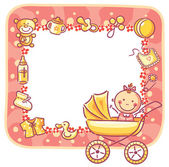 Frame with baby-girl things — Stock Vector