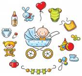 Baby in a baby-carriage with baby things — Stock Vector