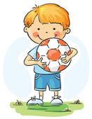 Petit garçon avec ballon de football — Vecteur