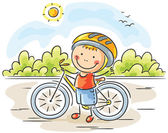 Little boy and bike — Stock Vector