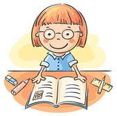 Dziewczyna czytająca książkę — Wektor stockowy