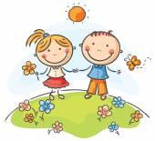 Enfants heureux — Vecteur
