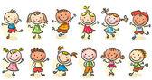 Happy cartoon sketchy kids — Stock Vector