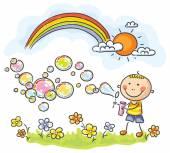 Child blowing soap bubbles — Stock Vector