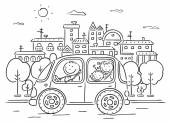 Happy family travelling by car - black and white — Stock Vector