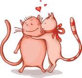 Happy cats couple — Stock Vector