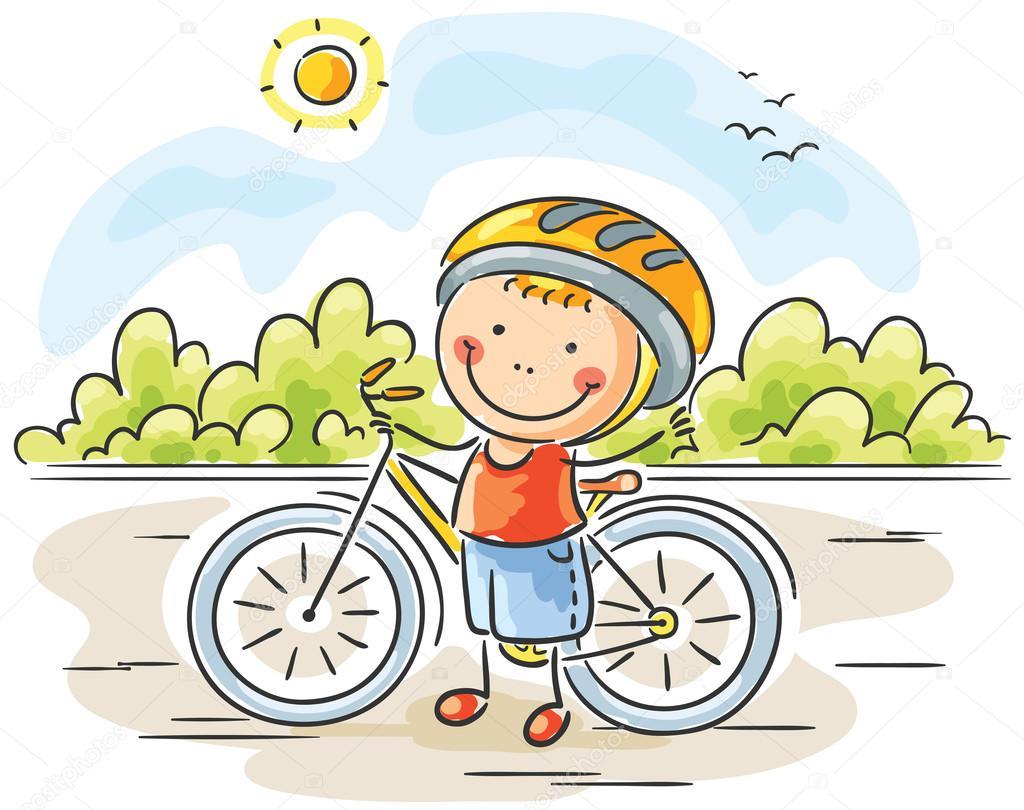 Дети на велосипеде рисованные