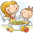 Mother and daughter cooking — Stock Vector #54060095