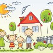 Family near their house — Stock Vector #54060459