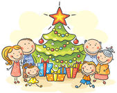 Family with a Christmas tree and presents — Stock Vector