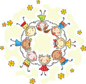 Kids in a circle — Stock Vector