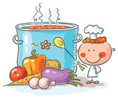Little chef with a giant boiling pot — Stock Vector