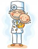 Doctor holding a baby — Stock Vector