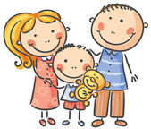 Happy family with one child — Stock Vector