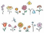 Cartoon flowers of different kinds — Stock Vector