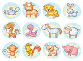Chinese zodiac signs — Stock Vector