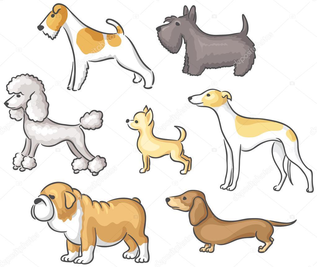 Conjunto de perros de dibujos animados — Vector de stock ...