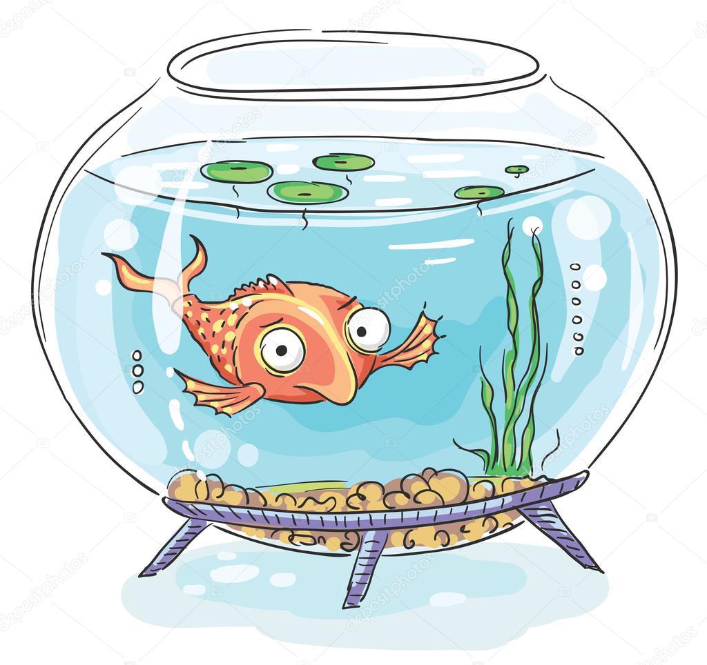 Cartone animato pesci rossi in un acquario — vettoriali