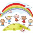Kids jumping with joy underneath a rainbow — Stock Vector #54091863