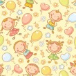 Seamless pattern with kids and balloons — Stock Vector #54092365
