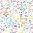 Seamless pattern with happy kids, balloons, sweets and flowers — Stock Vector #54092683