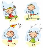 Kids outdoor games and activities — Vector de stock