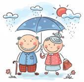 Happy cartoon grandparents — Vector de stock